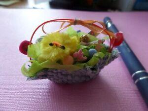 Easter  Basket rustic blue tweed Dollhouse Miniatures1:12