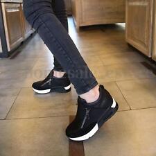 New Casual Women's Sneakers Zip Wedge Hidden Heel Running Sport Shoes Trainers