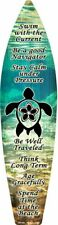"Sea Turtle Swim Metal Surfboard Sign 17"" x 4.5"" ↔ Beach Pool Bar Home Wall Decor"