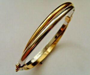 9ct Gold Twin Design Oval Hinged Bangle In Yellow & White Gold Hallmarked