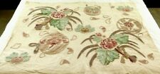 CREWEL FABRIC OFF WHITES ROSE GREEN TURQUOISE FLORAL FABRIC TEXTILE HOLIDAY GIFT