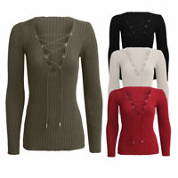 Women V Neck Lace Tie Up Ribbed Stretched Long Sleeve Jumper Knitted Top