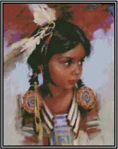 Native American Young Girl Point de Croix Kit Complet #21-125
