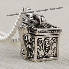Antique Silver Box Pendant Locket Necklace Chain Love - Xmas Gift For Her Women