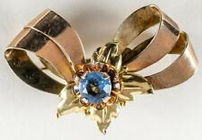 Antique 1/20 12K Rose & Yellow Gold Watch Holder Brooch w/ Blue Stone