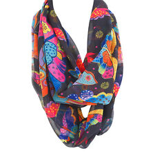 Laurel Burch Butterflies Bright Multi-Colored Artistic Infinity Scarf