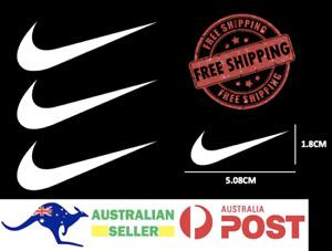 "3x Nike Iron On Swoosh WHITE Logos 2"" Inch Heat Transfer Vinyl HTV FREE SHIPPING"
