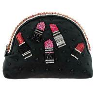 Mary Frances Black First Lipstick Pink Case Make Up Zip Beaded Bag Handbag NEW