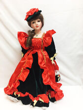"""New in Box Show Stoppers Timeless Holiday Christmas Brunette 22 """" Porcelain Doll"""