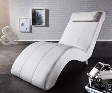 Chaiselongue Lennox Creme Weiss 60x160 cm abgesteppt mit Nackenkissen Relaxliege