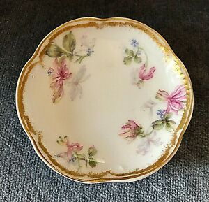 Haviland & Co. Limoges Schleiger Double Gold Floral BUTTER PAT with Flowers