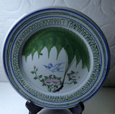 A Very Old HAND PAINTED BIRD & FLOWER MOTIF PORCELAIN PLATE 18.3cm
