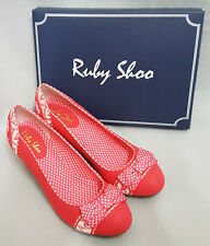 New Ruby Shoo Hayley Coral Red Ladies Bow Mid Heel Vintage Court Shoes Box Sz 8
