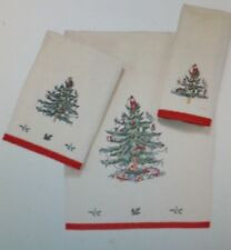 NWT SPODE Embroidered Christmas Tree Towels, Set of 3 - BATH , HAND & FINGERTIP