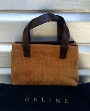 CELINE Brown Monogram Signature Logo Suede Leather Tote Baguette Handbag fc12bd063012b