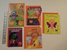 5-LOT-NEW-HALLOWEEN GREETING CARDS-FINGER PUPPET-GRANDSON-GIRL-GRANDDAUGHTER**