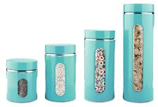 Kitchen Canister Set Turquoise Cabinet Kitchen Counter Top Storage Jars 4 Piece