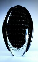Mid-Century Modern Winged Murano Art Décor Glass Black Vase With Bubbles Italy