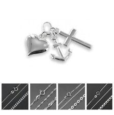Glaube Liebe Hoffnung Anhänger echt 925 Silber Kreuz Herz Anker Kette 💎 1150