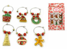 Eddingtons 6 Festive Christmas Wine Charms Party Drink Stemware Table Deco Craft