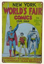 Batman Robin Superman 1940 World Fair Comic Retro Tin Metal Sign 8x12in 20x30cm