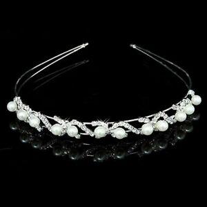 FLOWER GIRL/HOLY COMMUNION/BRIDAL GIRLS Crystal Pearl Tiara Headband -UK Seller