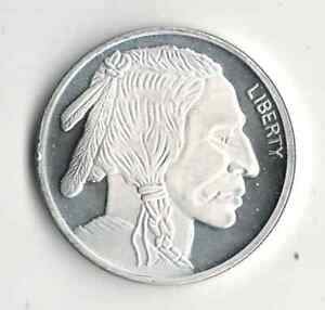 ONE OUNCE 999 FINE SILVER ROUND INDIAN HEAD BUFFALO TYPE