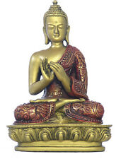 Nepali Buddha Statue Turning the Wheel of the Dharma Red Gold O-079GR