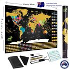 Large Premium Deluxe Glossy Scratch Off World Map Poster Decor Atlas with Tools