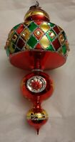 Christopher Radko CRYSTAL SPINTOP Red/Green 20th Anniversary 2005