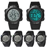 étanche Homme LCD Digital Chronomètre Date Caoutchouc Sport Montre Bracelet