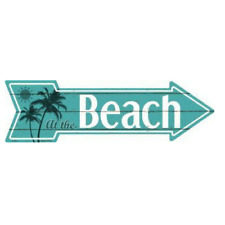 """Outdoor/Indoor Palm Trees Sunrise At The Beach Novelty Metal Arrow Sign 5"""" x 17"""""""