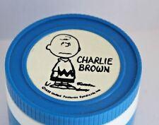 Vintage CHARLIE BROWN Thermos for Lunchbox 1952 BLUE White Plastic Retro Jar