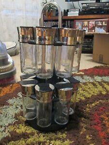 Empty 16-Jar Carousel Spice Rack w/ Chrome/ Silver Metal / Black ~~