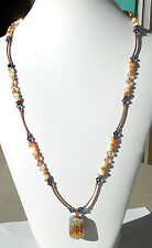 "**PEACHES FLAMBE"" Necklace Lampwork crystal Czech glass Copper 25"""