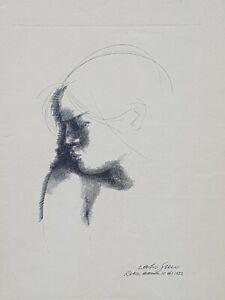 Emilio Greco ( Catania 1913 - Roma 1995 ). Volto di ragazza.Acquaforte,incisione