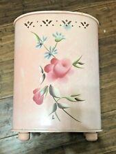 Vintage Floral Flower Metal Trash Garbage Can Mid Century Pink Wastebasket Prop