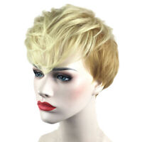 10'' Short Layered Straight Blonde Pixie Cut Wigs with Bangs for White Women