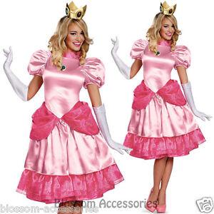 K75 Princess Peach Super Mario Bros Games Fancy Dress Up Party Costume
