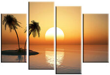 LARGE CANVAS WALL ART PICTURE SUNSET SEA  SUNRISE SPLIT MULTI 4 PANEL 100 cm