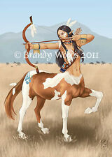 Native American Indian CENTAUR archer aceo ethnic fantasy art - Brandy Woods