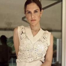 Zara Knit Vest With Crochet Detail Size M BNWT Slipover