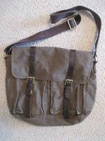 Fossil Canvas Messenger Bag Leather Trim