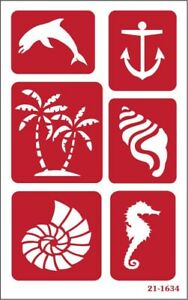 Armour Over n Over Reusable Glass Etching Stencil ~ Seashore
