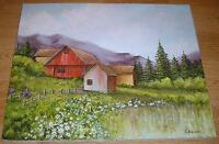 AMERICANA VINTAGE COUNTRY GARDEN LANDSCAPE FLOWER RED BARN HOUSE VALLEY PAINTING
