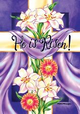 Floral Cross He is Risen Purple Draped Coth Lilies Easter Religious Lg Flag DS