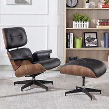 Luxury Leather Lounge Chair Footstool Retro Walnut Ottoman Recliner Armchair