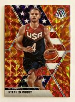 2019-20 Mosaic Steph Curry Orange Reactive USA Prizm Refractor SP GS Warriors
