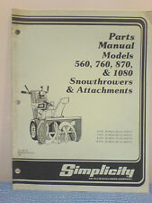 Simplicity 560, 760, 870, 1080 Snowthrower Parts Manual Tp-901-02 Original!