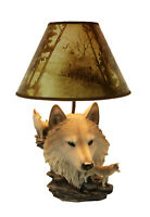 Zeckos Gray Wolf Bust Table Lamp W/ Nature Print Shade